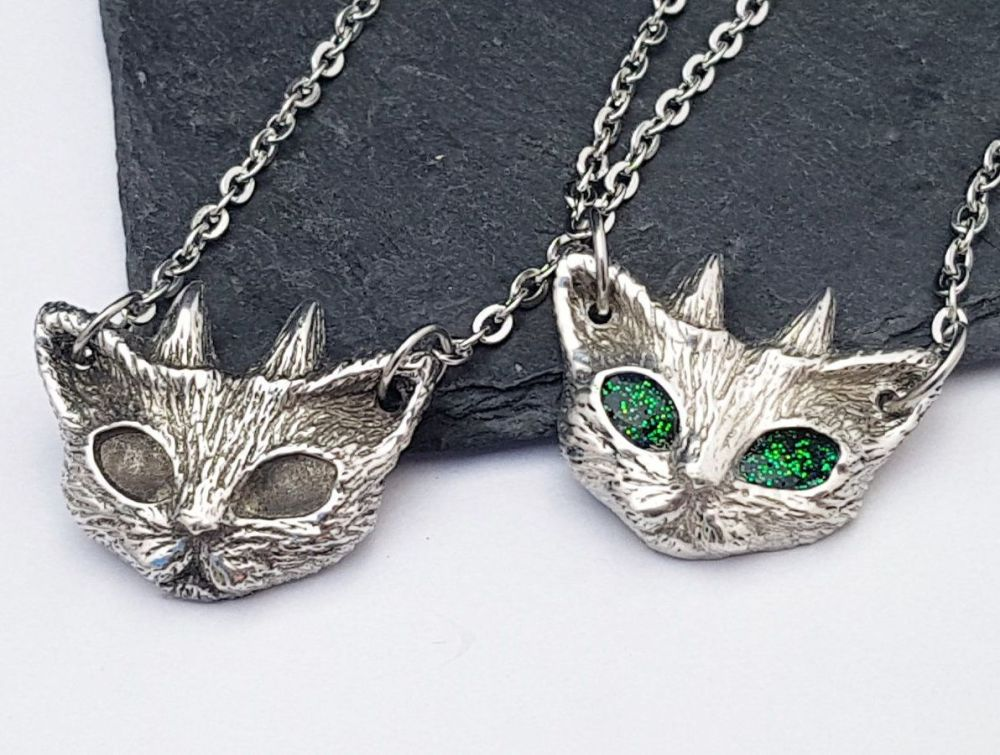 Necklace - Pewter - Chunky Cat - Devil Kitty
