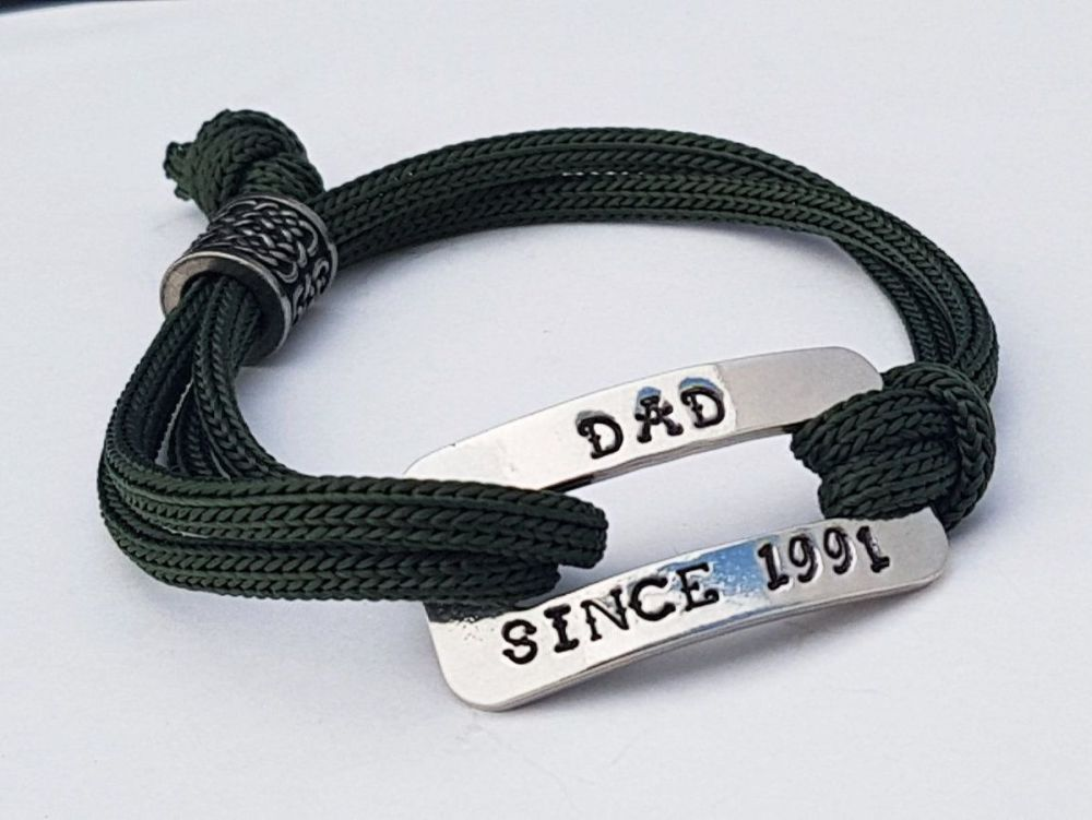 Bracelet - Pewter & Paracord - DAD SINCE (choose year)