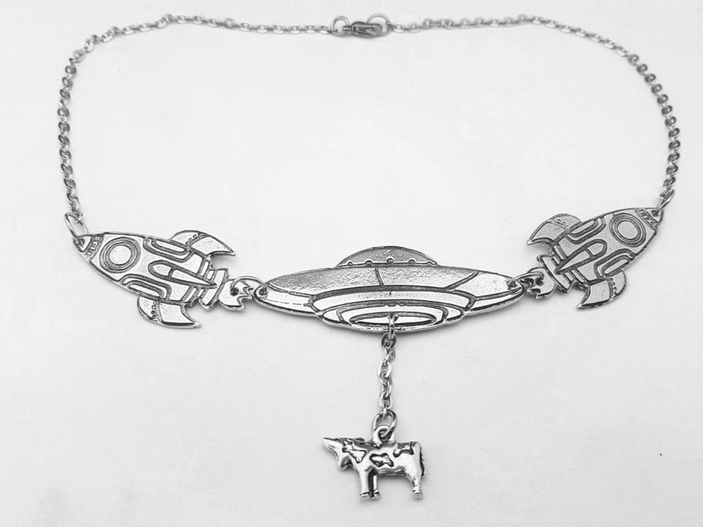 Necklace - Pewter - Space Themed - Rockets and Mother Ship - Statement Neck