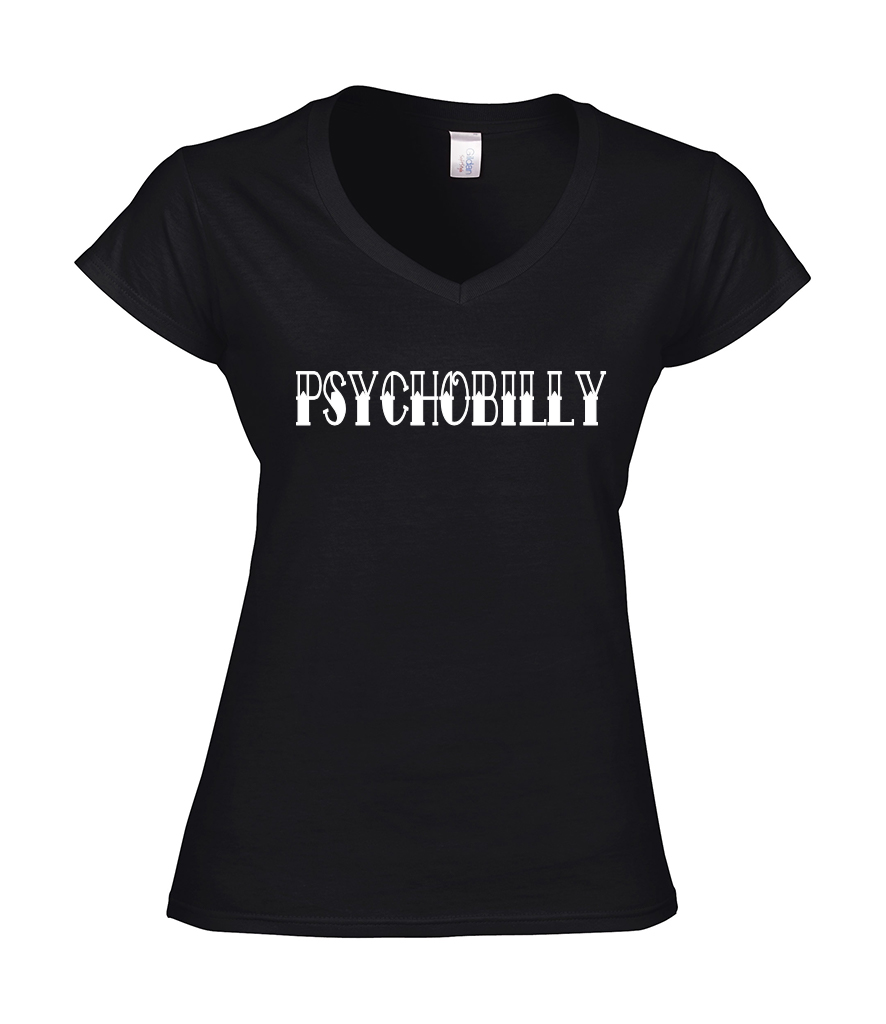 Ladies T Shirt -  V Neck - PSYCHOBILLY