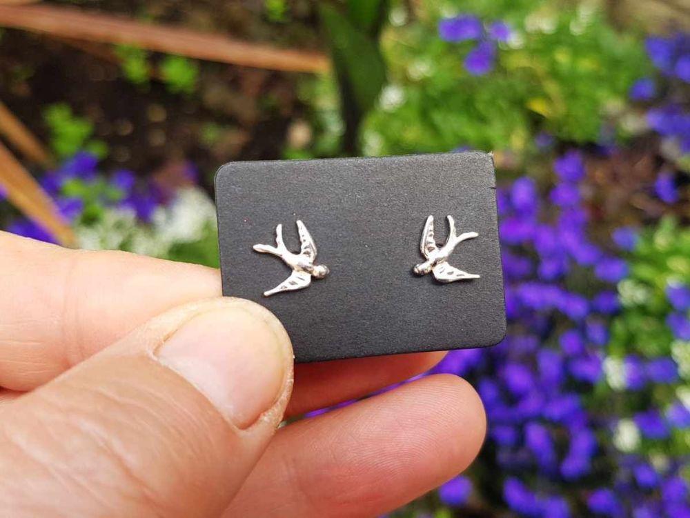 Earrings - Sterling Silver - Tiny Swallow Stud Earrings