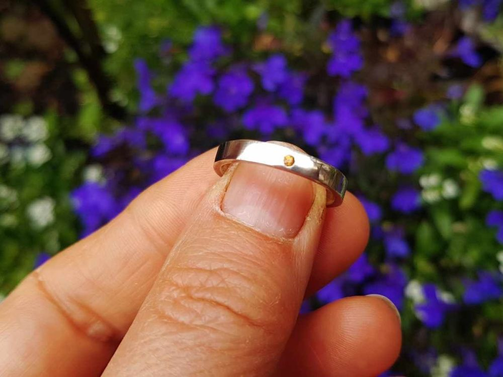 Ring - Sterling Silver - Alma Collection - Flush Set with Orange Sapphire -
