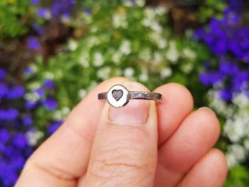 Ring - Sterling Silver - Stacking Ring - Slim Round Ring with Heart - Size R 1/2