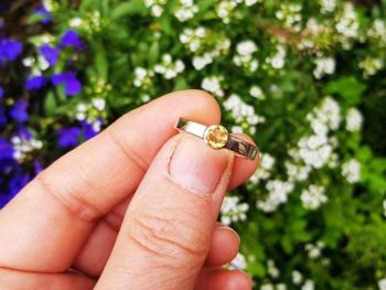 Ring - Sterling Silver - Flat Profile Ring with Citrine - Size O