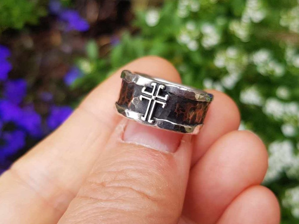 Ring - Mixed Metal - Sterling Silver Core Ring With Copper & Silver Cross -