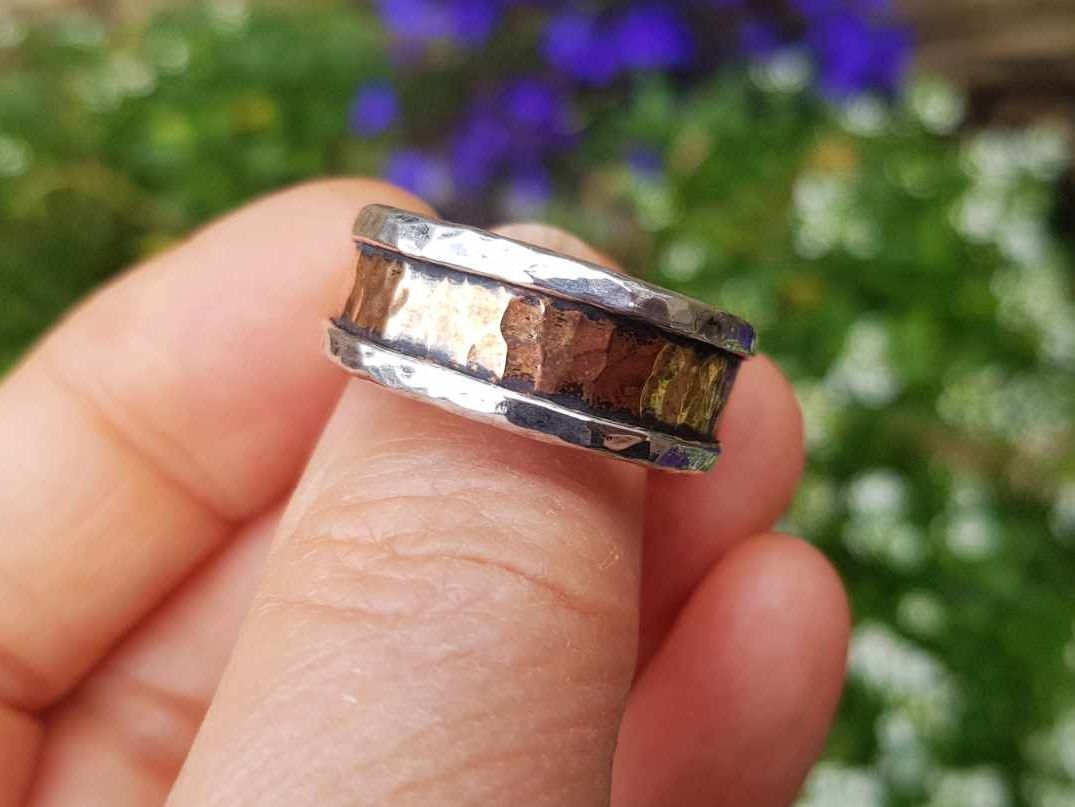 Ring - Mixed Metal - Sterling Silver Core Ring with Hammered Bronze - Size