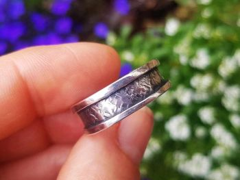 Ring - Sterling Silver - Textured Channel Ring - Size U