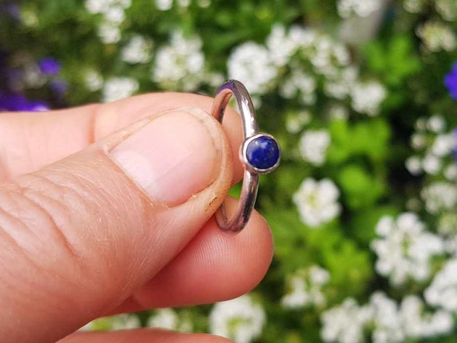 Ring - Sterling Silver -  Stacking Ring-  Slim Round Ring with 5mm Sodalite