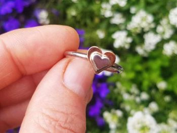 Ring - Sterling Silver - Stacking Ring - Slim Round Stacking Ring with Silver & Copper Heart - Size Q