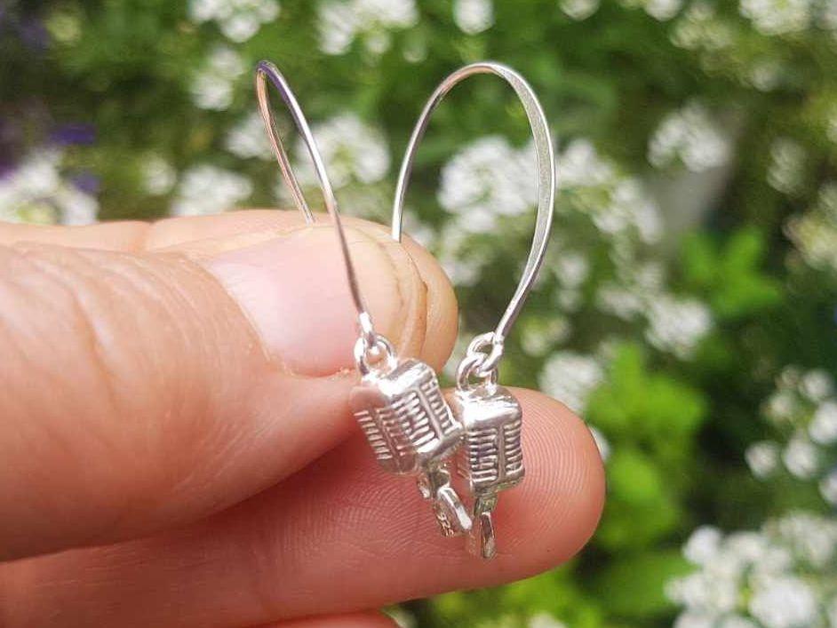 Earrings - Sterling Silver - Vintage Microphone Earrings