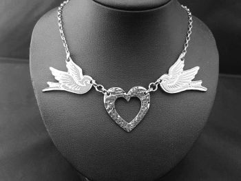 Chest Piece Necklace - Pewter - Tattoo Inspired Swallows & Hammered Heart