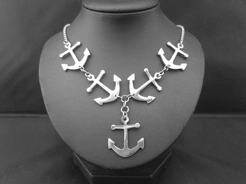 Necklace - Pewter - Tattoo Inspired Anchors Aweigh Statement Necklace