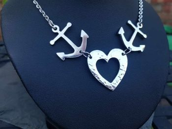 Chest Piece Necklace - Pewter - Tattoo Inspired Anchors & Hammered Heart