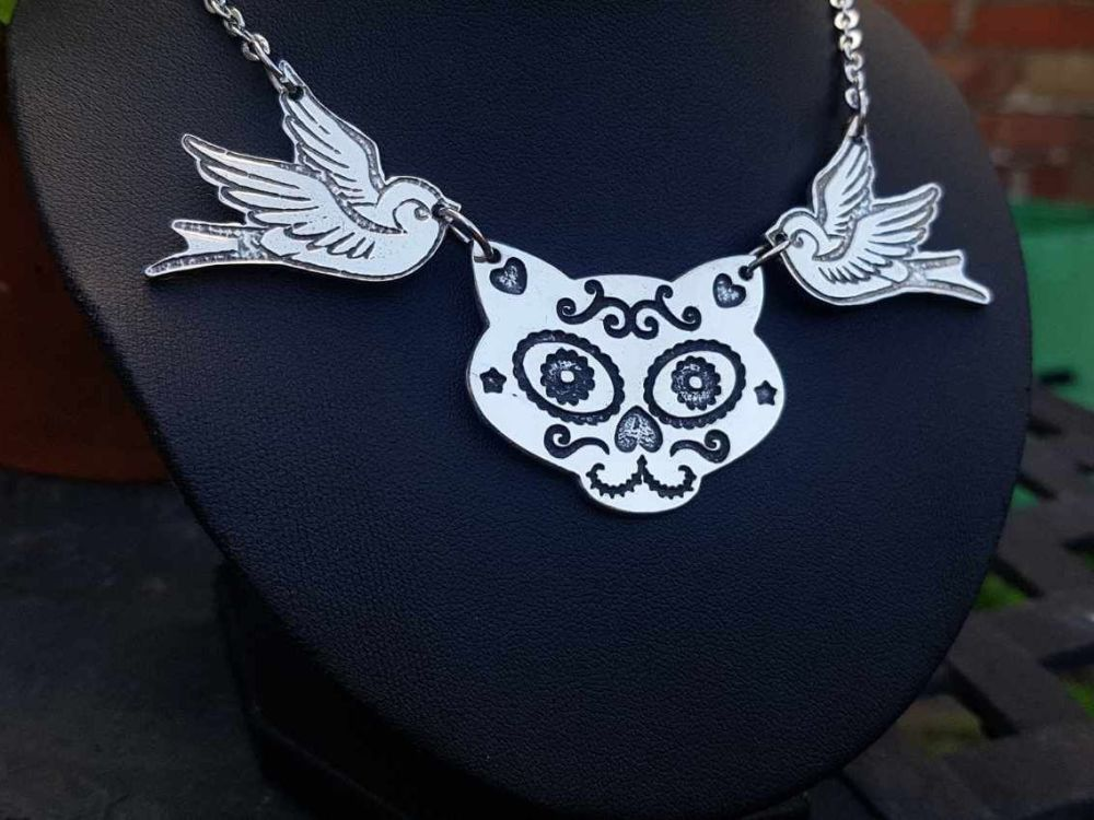 Necklace - Pewter - Tattoo Inspired Swallows & Sugar Skull Cat Necklace