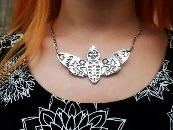 Necklace - Pewter - Death's Head Moth - Statement Necklace