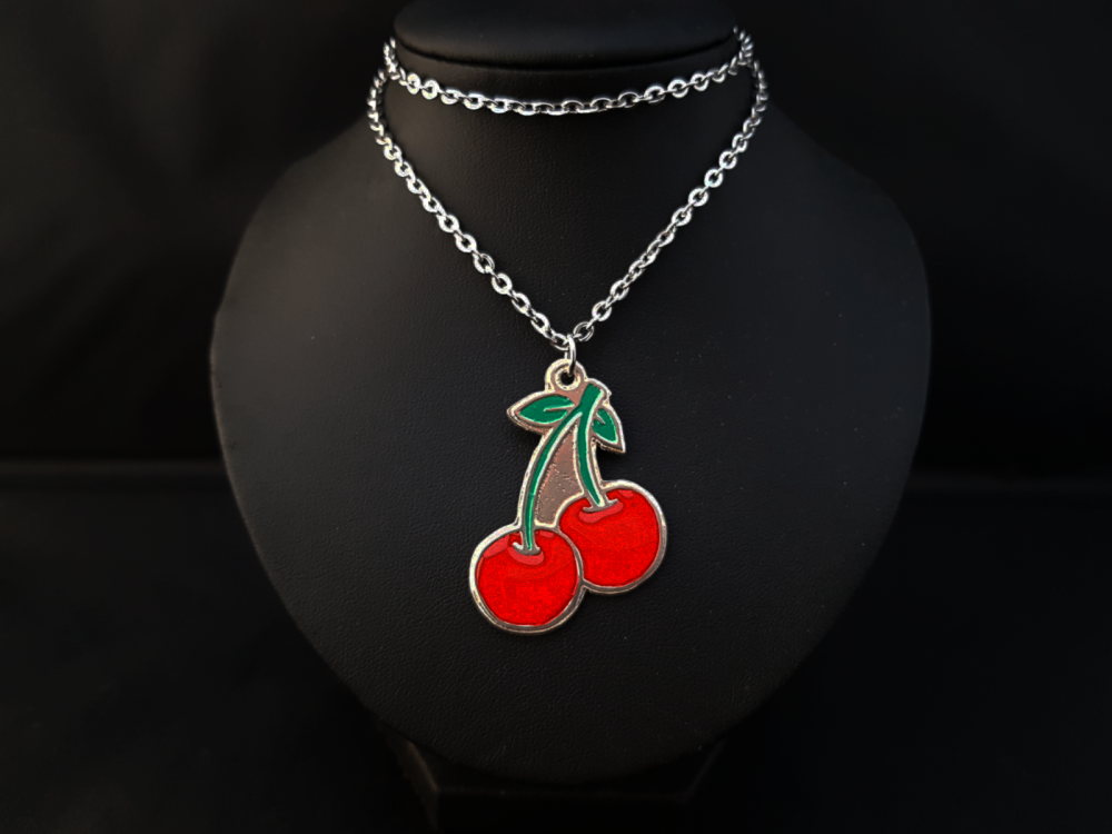 Necklace - Pewter - Cherries - Choose Red or Black