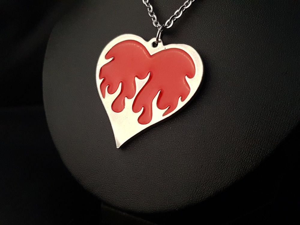 Necklace - Pewter - Coloured Flaming Heart Necklace - Choose Colour