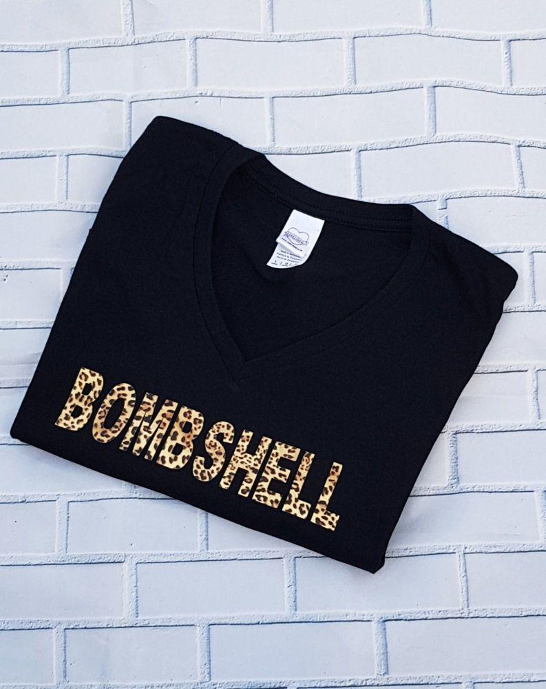 Ladies T Shirt -  V Neck - BOMBSHELL