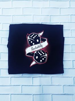 Ladies T Shirt -  V Neck - Rockabilly Dice
