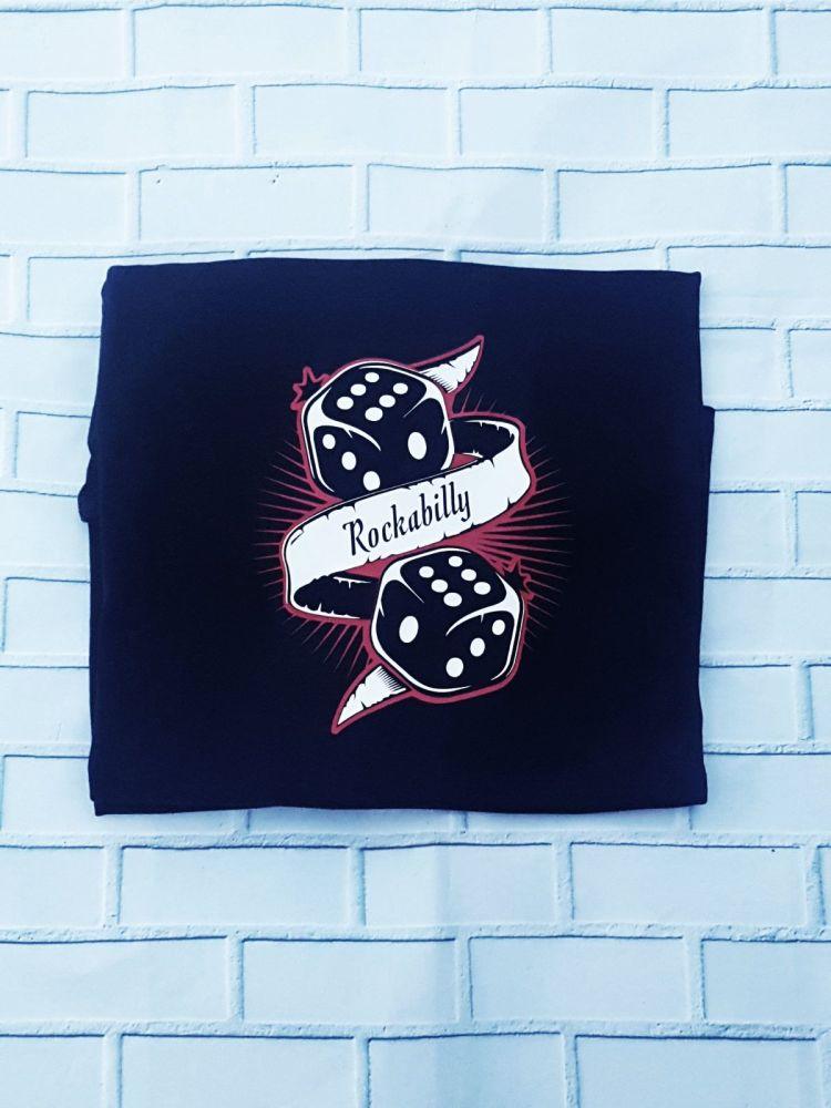 Ladies T Shirt -  V Neck - Rockabilly Dice
