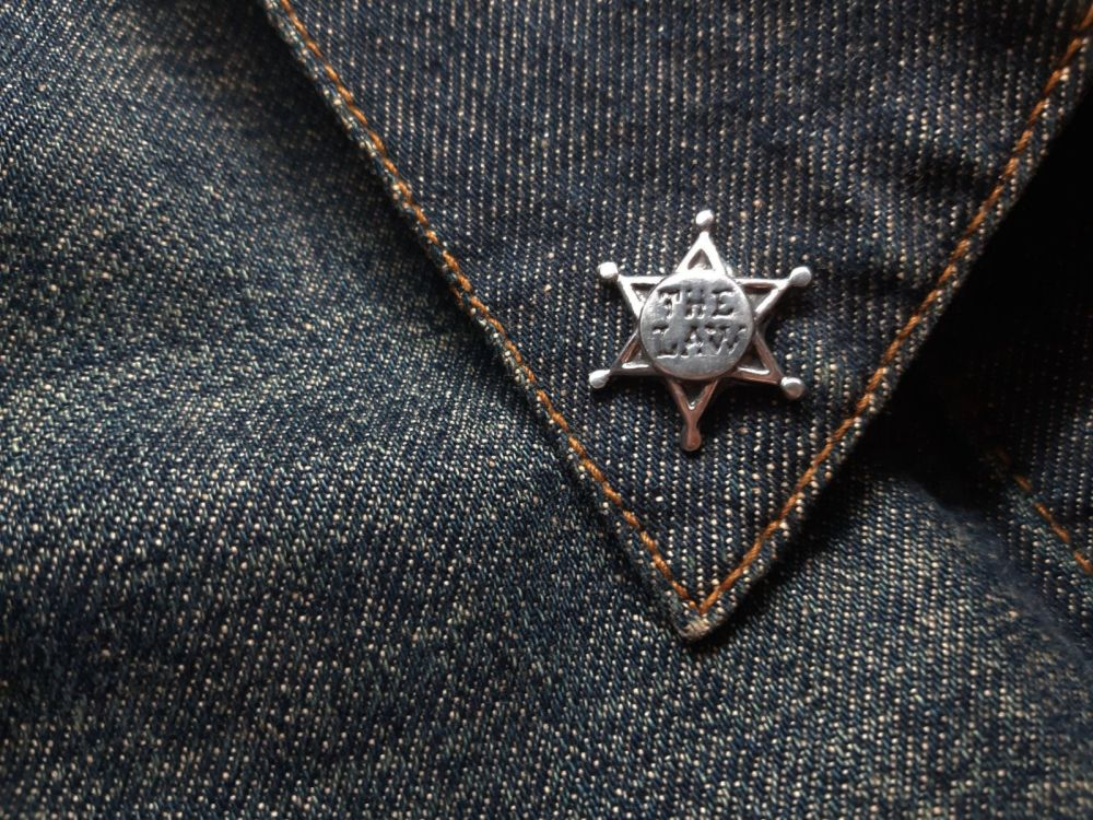 Lapel Pin - Pewter Pin Badge - The Law Sheriff Badge