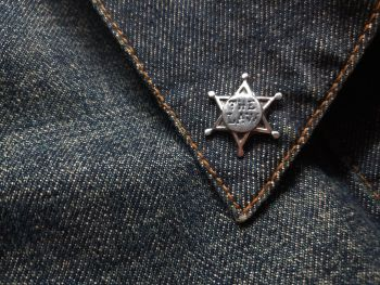 Lapel Pin - Pewter Pin Badge - The Law Sheriff Badge