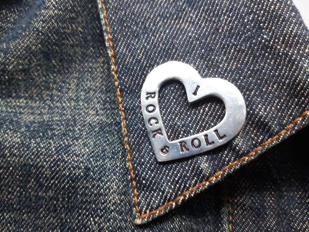 Lapel Pin - Pewter Pin Badge - I Love Rock & Roll