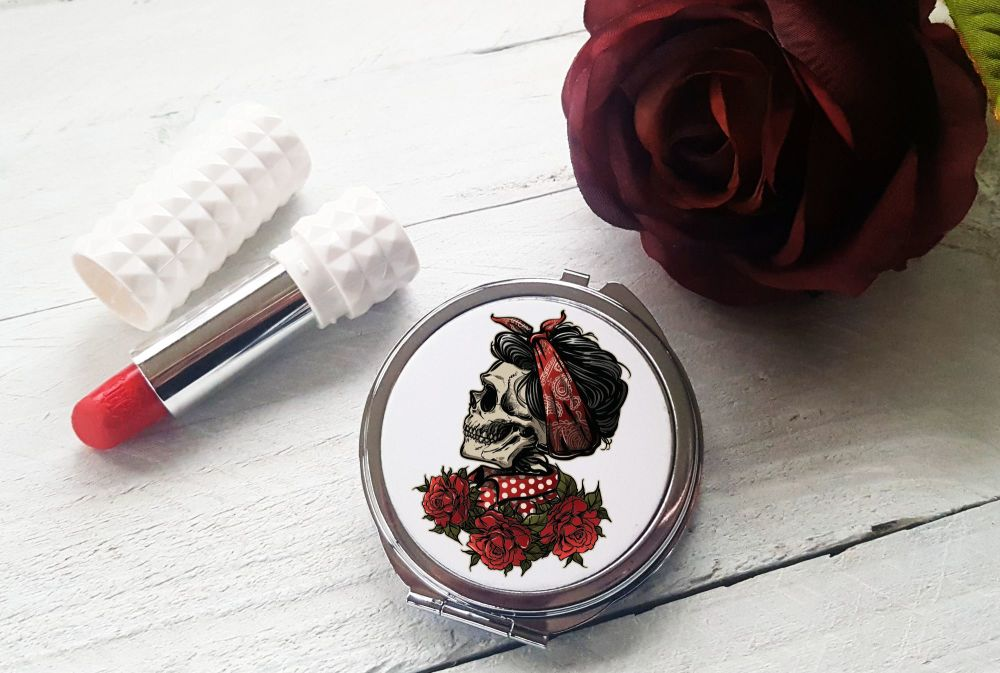 Compact Mirror - Sugar Skull with Roses