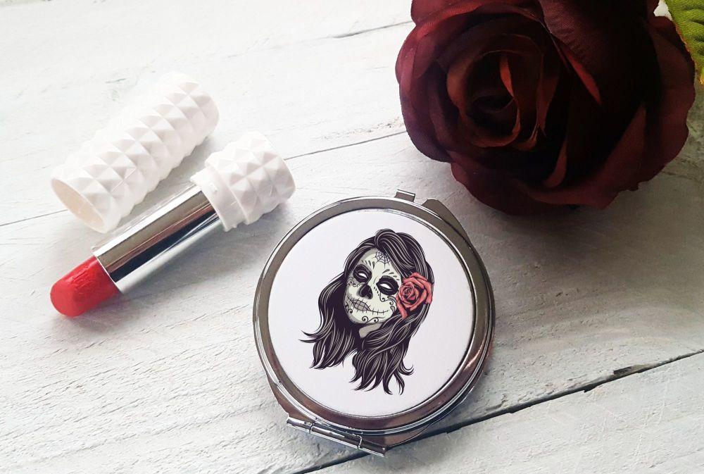 Compact Mirror - Sugar Skull Female