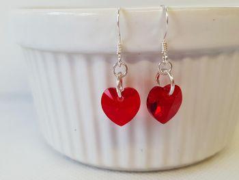Earrings - Sterling Silver - Swarovski Heart