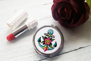 Compact Mirror - Colourful Anchor Tattoo