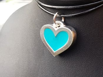 Necklace - Pewter - Chunky Heart - Choose Colour