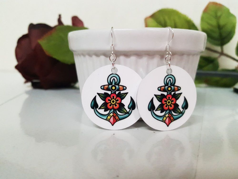 Earrings - Aluminium & Silver - Colourful Tattoo Anchor