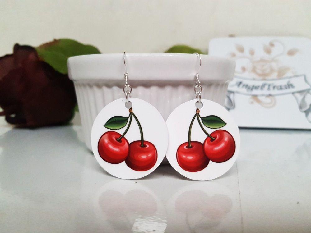 Earrings - Aluminium & Silver - Rockabilly Cherry Earrings