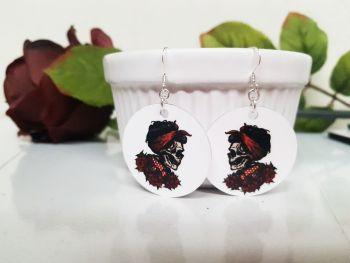 Earrings - Aluminium & Silver - Rockabilly Cherry Skull & Roses Earrings