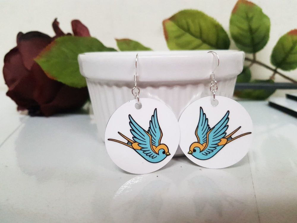 Earrings - Aluminium & Silver - Colourful Tattoo Swallow Earrings