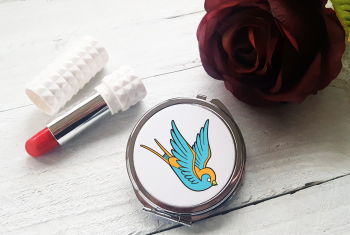 Compact Mirror - Tattoo Style Swallow Design
