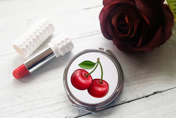 Compact Mirror - Rockabilly Cherry Design