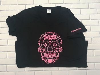 Ladies T Shirt -  V Neck - Sugar Skull - Choose Colour