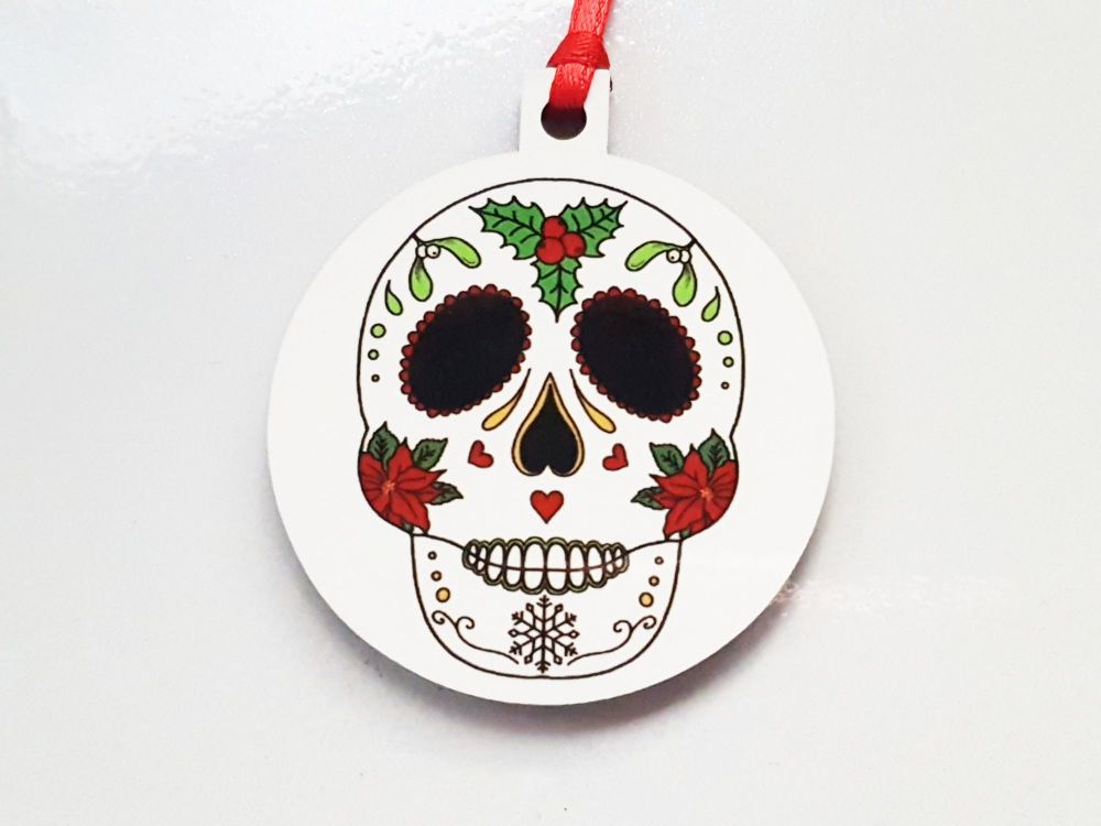 Christmas Decoration - Sugar Skull Christmas Themed Bauble