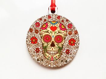 Christmas Decoration - Swirly Sugar Skull Design Bauble