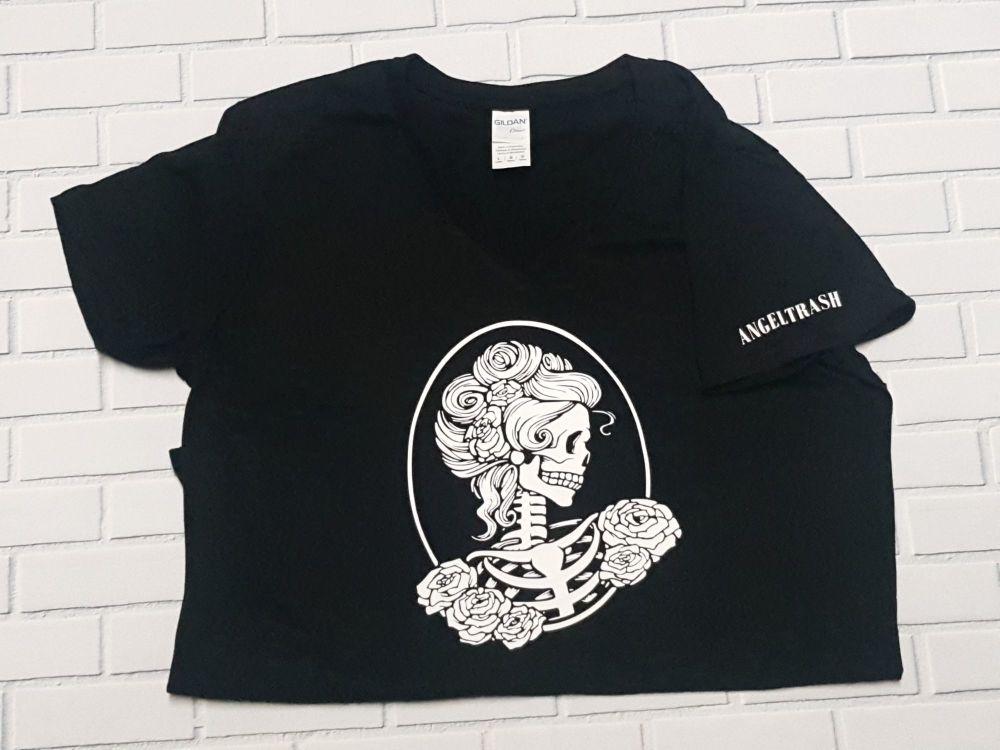 Ladies T Shirt -  V Neck - White Skull Cameo on Black Tee