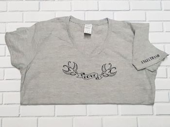 Ladies T Shirt -  V Neck - Tattoo Style Swallows with Love Banner