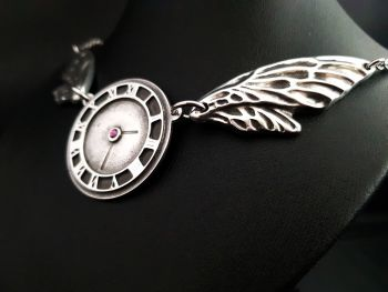 Chest Piece Necklace - Pewter - Time Flies