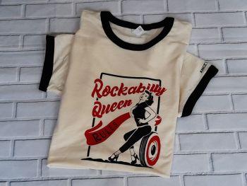 Unisex T Shirt - Vanilla/Black Ringer Tee - Rockabilly Queen