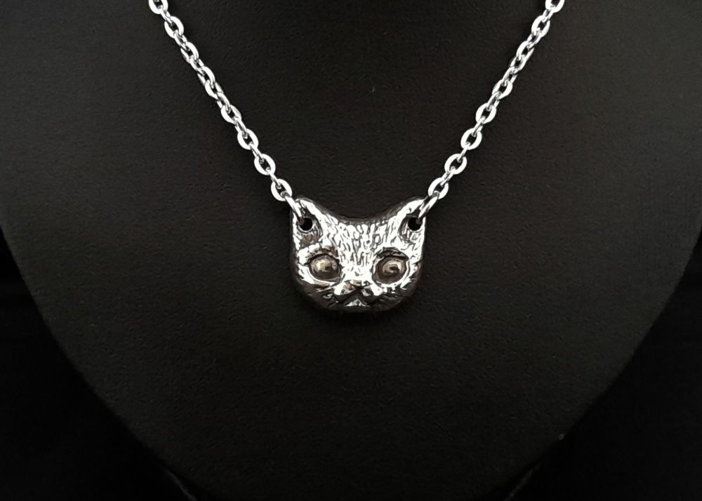 Necklace - Pewter - Chunky Little Kitten Necklace