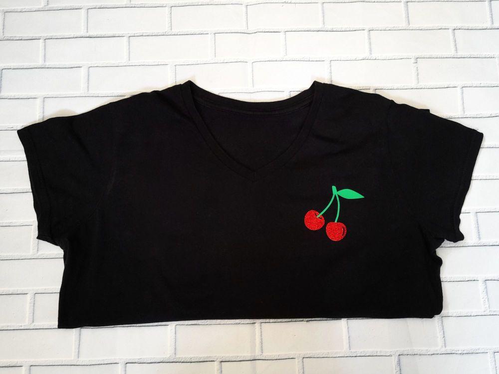 Ladies T Shirt -  V Neck - Sparking Cherry