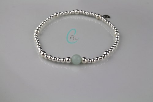 Sterling silver and Amazonite stretch bracelet