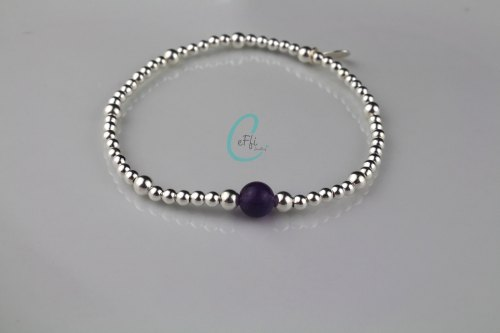 Sterling silver and Amethyst stretch bracelet