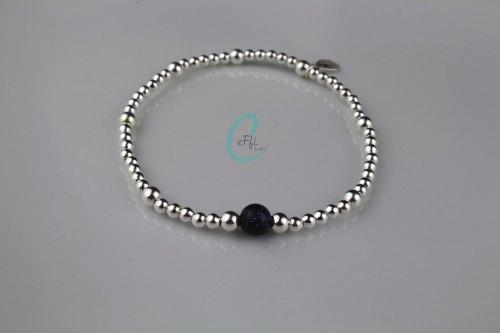 Sterling silver and Blue Goldstone stretch bracelet